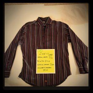 Thomas Dean Lg Mens Dress Casual Shirt Flip Cuff